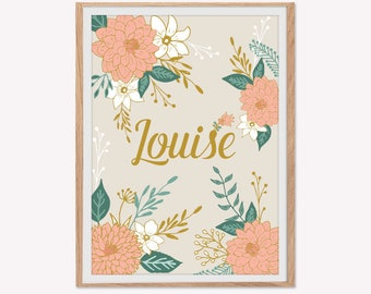 Poster floral motifs, customizable, child's room, decoration