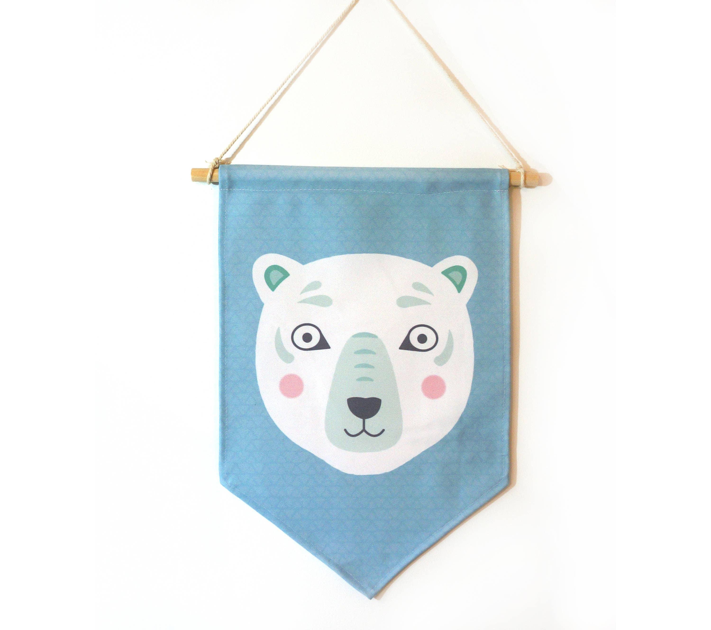 Fanion ours blanc d coration murale chambre d 39 enfant etsy - Fanion deco chambre ...