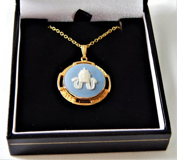 Wedgwood Blue Cameo Pendant Papal Crown Pope John