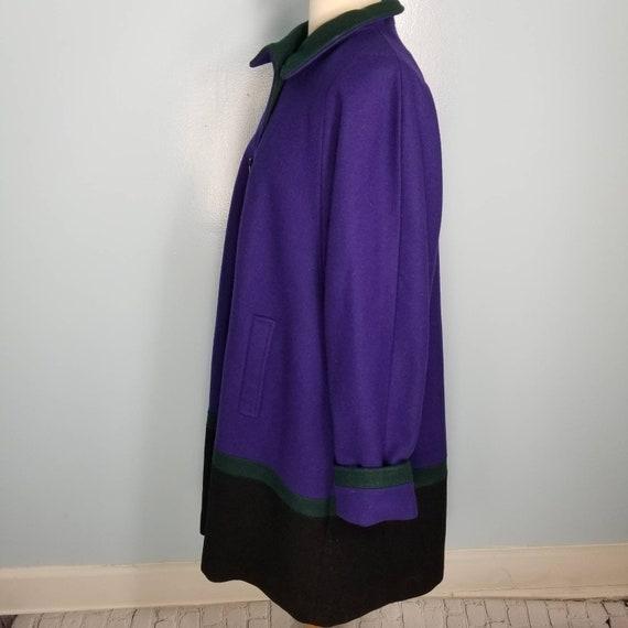 Wool color block coat