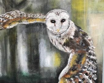Flying owl original acrylic painting