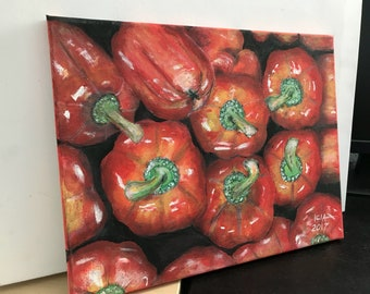 Red peppers original acrylic painting