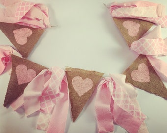 Burlap banner pink hearts pink and white ribbons love valentines day baby shower decor wedding decoration