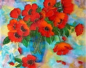 Poppies in a blue vase