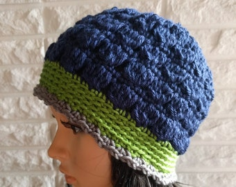 b53401840e5a6a Women's Seahawks beanie, blue flapper cloche beanie, women's beanie hat,  women's accessories, gifts for her, fall, winter and spring fashion