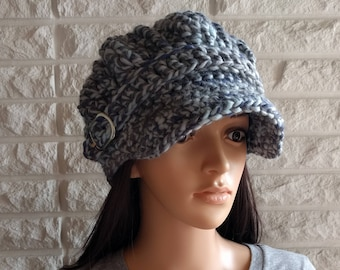 cbba19e8f2957d Women's chunky newsboy hat, women's blue pageboy, hat with brim, women's  accessories, gifts for her, fall, winter and spring fashion