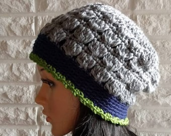 eed1500f94146c Seahawks flapper cloche beanie, women's grey Seahawks beanie hat, women's  accessories, gifts for her, fall, winter and spring fashion