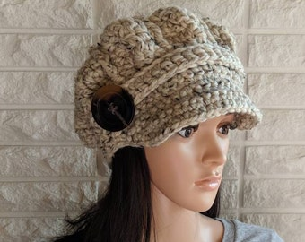 acf7dbee8696aa Women's oatmeal newsboy, oatmeal pageboy hat, tan hat with brim, women's  accessories, gifts for her, fall, winter, spring fashion