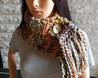 Women's chunky fringe scarf, thick winter scarf, women's accessories, gifts for her, fall, winter and spring fashion