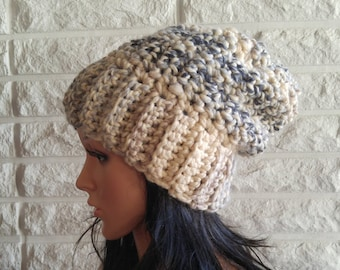 Chunky women's slouch, slouchy hat, winter hat, cream and black slouch, beanie slouch, gift, accessories, fall, winter, spring fashion