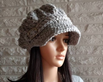 424431d81f165c Women's gray newsboy hat, women's gray pageboy hat, women's hat with brim,  gifts for her, women's accessories, fall, winter, spring fashion