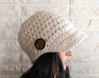 Women's brimmed skater hat, cream newsboy hat, women's brimmed winter hat, gifts for her, accessories, fall, winter and spring fashion