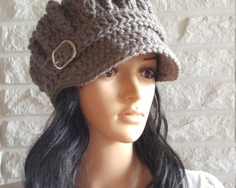 f74e746b132a21 Women's chunky crochet newsboy hat, brown pageboy, beanie with brim,  women's accessories, gifts, fall, winter, and spring fashion