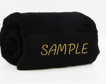 Monogrammed Black Bath Towel **Any Name**