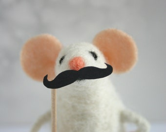 Felt mouse with mustache, Needle felted mouse ornament, Moustache mice, Holiday figurine, Cute mice figurine, Miniature mouse
