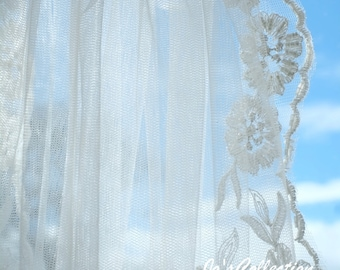 Bridal veil with embroidered and beaded detail, can be made to your exact length requirements