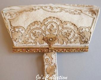 ivory & gold vintage beaded bag
