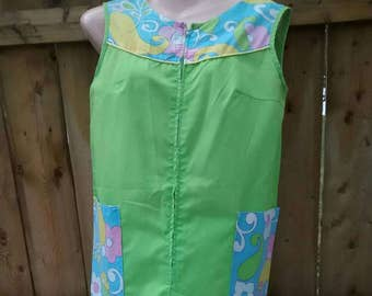 Neon Green House Dress with Groovy Print Pockets