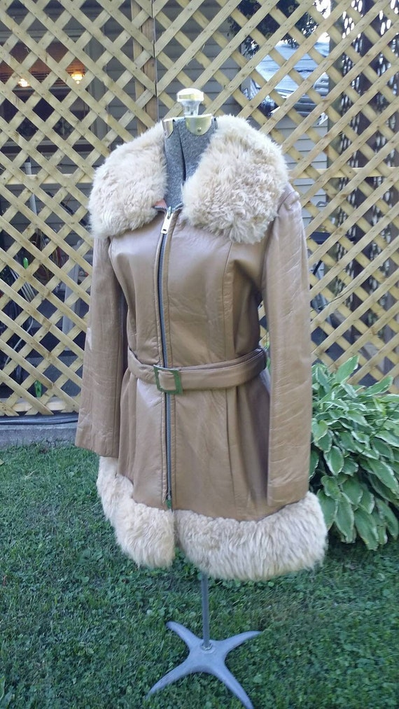 Leather Shearling Belted Coat