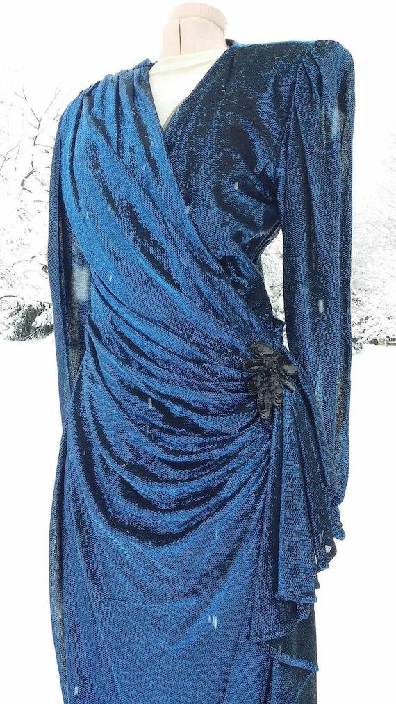 Metalic Cobalt  Disco Era Wrap Dress