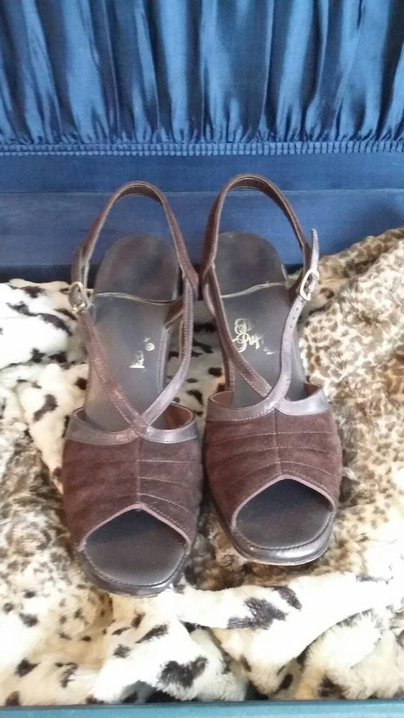 Chocolate Brown Suede and Leather Slingbacks
