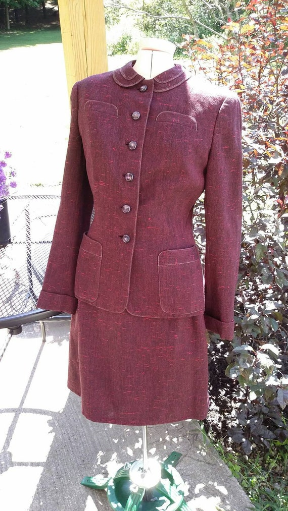 1940's Eggplant Tweed Suit