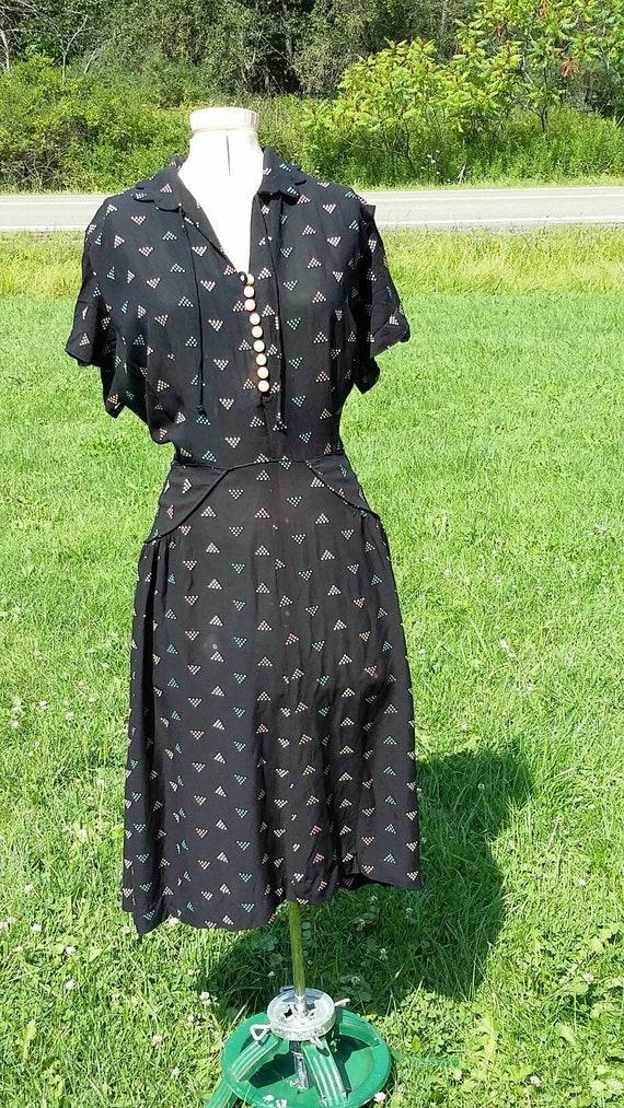 Sweet Black  Novelty Print Dress