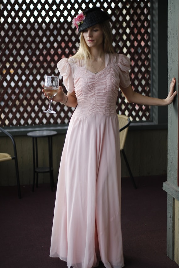 Sheer Pink Ruched Gown