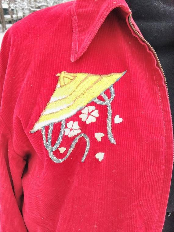Red Corduroy Zip Up Jacket