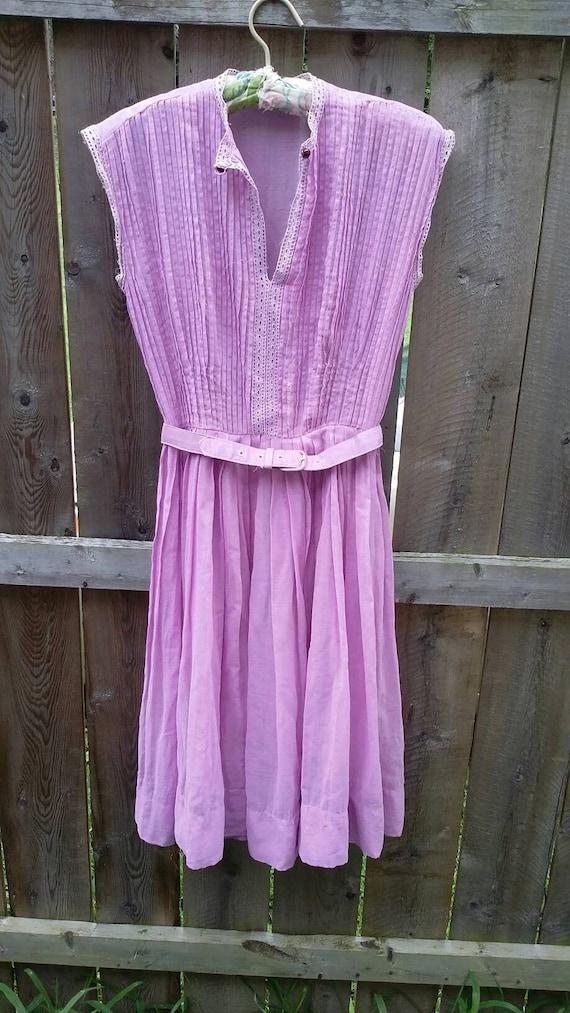 R&K Originals Sheer Cotton Lavender  Dress