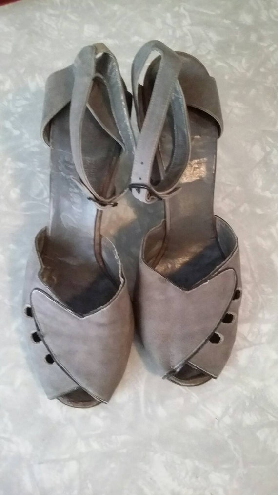1940s Ankle WrapPeep Toe  Pumps