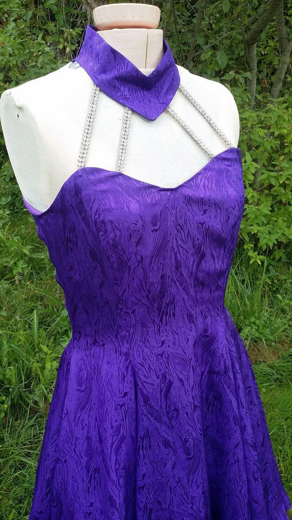 Royal Purple Moire Rhinestone Halter Cocktail Dres