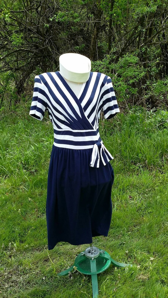 Toni Todd Navy Striped Nautical Dress