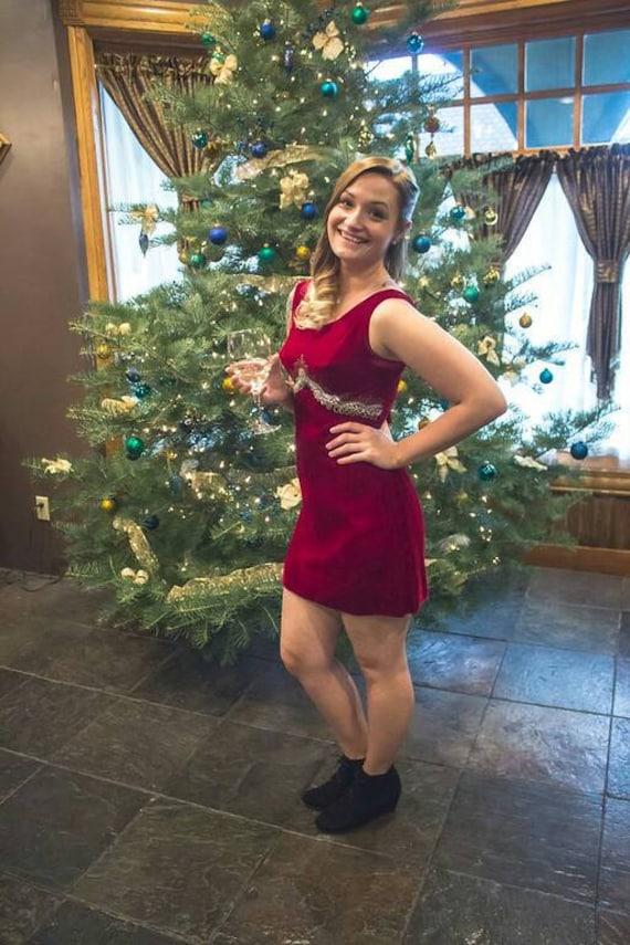Crimson Velvet Mini Dress