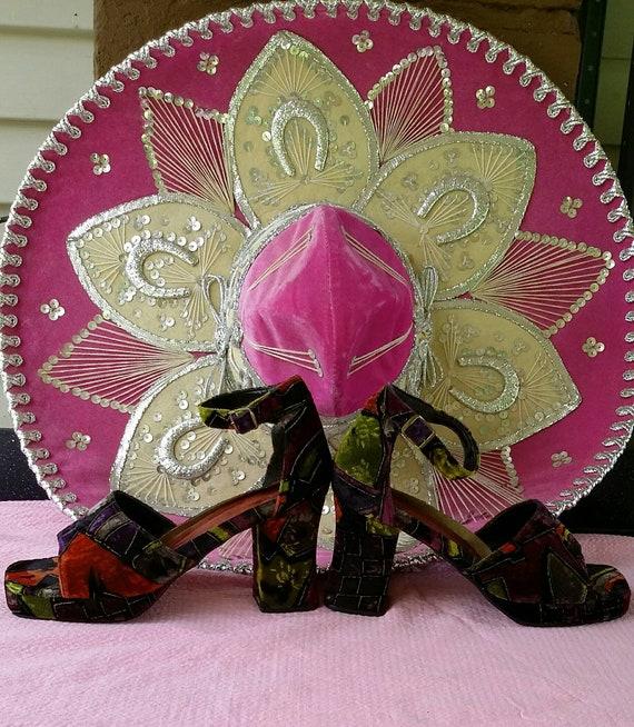 Incredible Velvet Burnout Spanish Heels