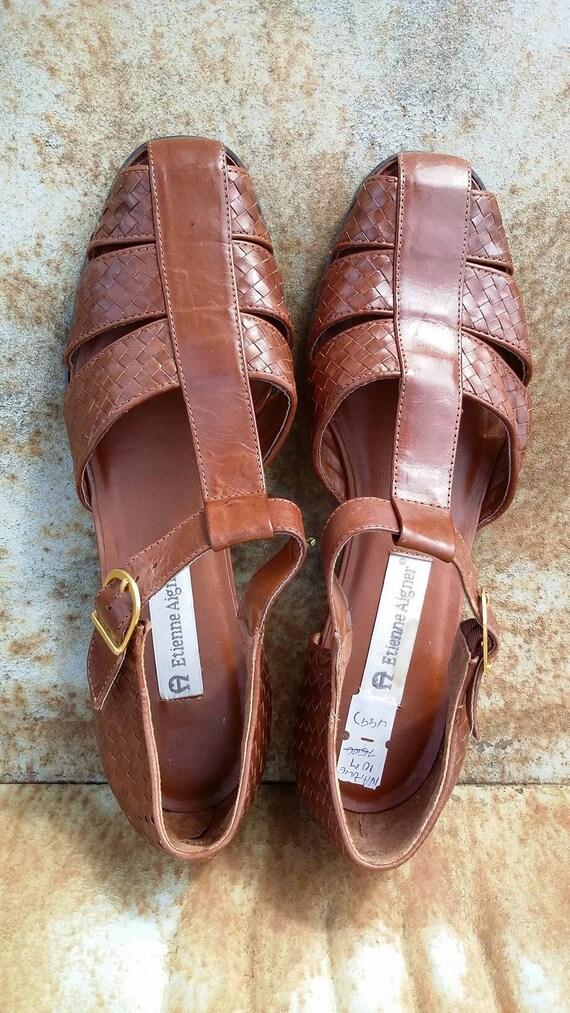 Etienne Aigner Leather Hurache Sandals