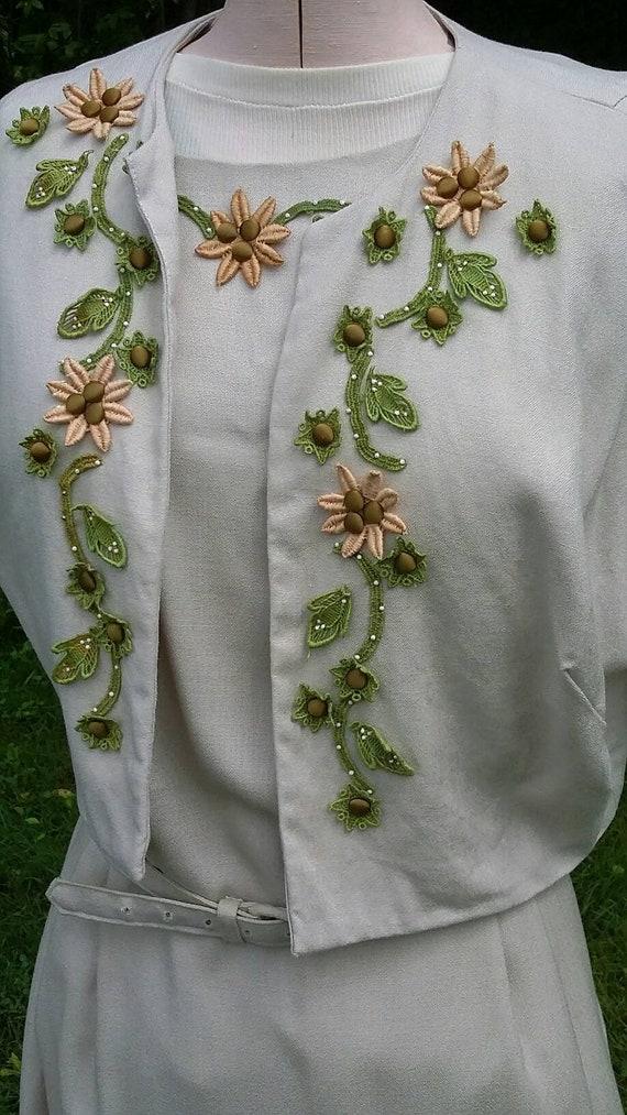 Classic Mad Men Beige Linen Dress