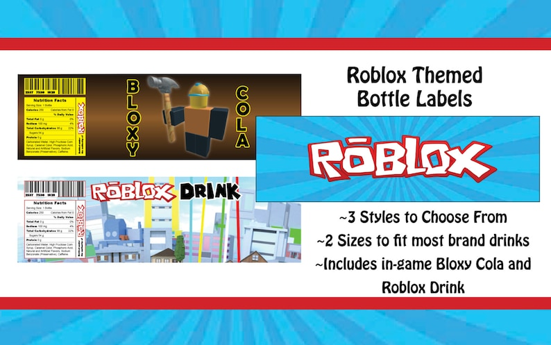 Roblox Themed Water Bottle Label Etsy