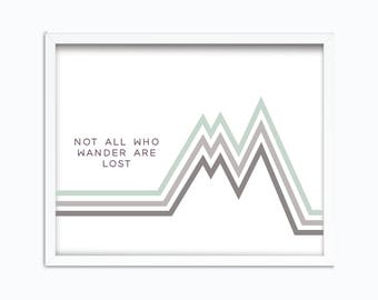 Not All Who Wander Are Lost | | Digital Printable  Tolkien Quote | J R R Tolkien | Not All Those Who Wander Are Lost | Travel Printable