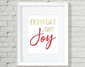 Christmas Decoration, Holiday Decor, Christmas, Christmas Printable, Christmas Wall Art, Wall Art Bundle, Comfort and Joy, Joy sign,