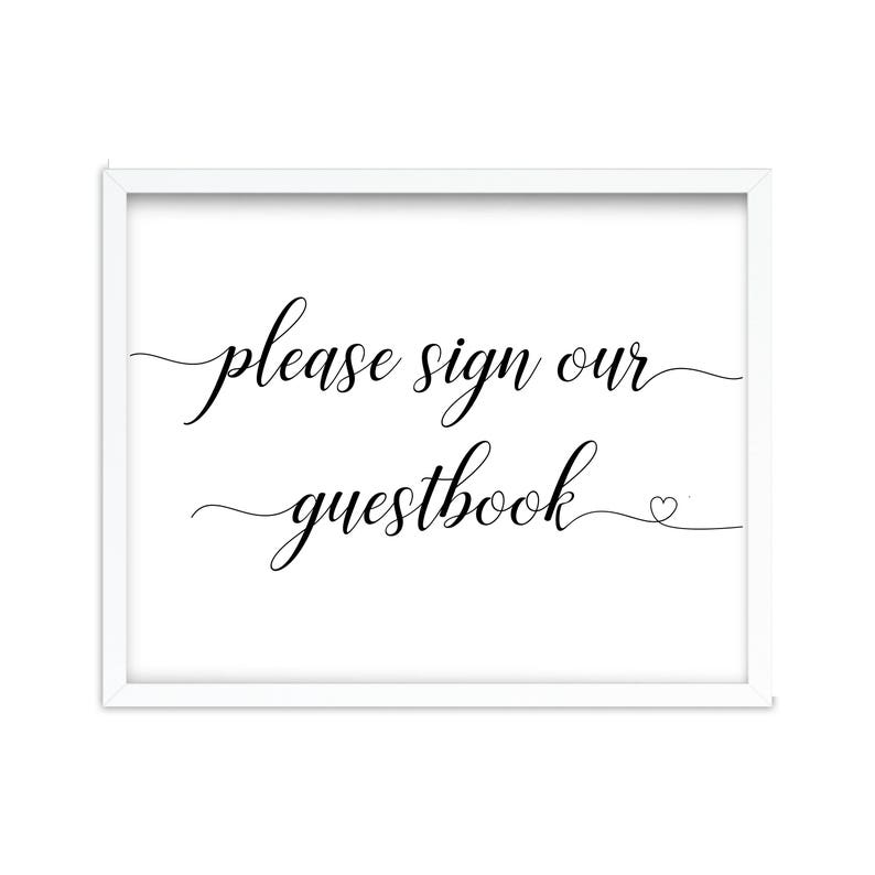 image about Please Sign Our Guestbook Printable called Remember to Signal Our Guestbook Printable Be sure to Indication Our Visitor ebook Indication Our Guestbook Black and White Make sure you Indicator Wedding day Reception Indicator