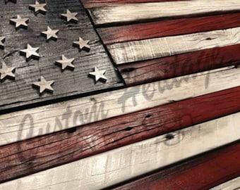 Wood flag, barnwood flag,wooden flag, flag,American flag, rustic flag
