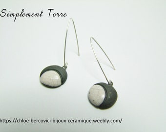 pointed,stuck Ceramic earring white Raku clocked by black.