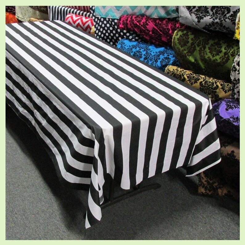 90X156 58X108 58X120 90X132 Stripe 1 Inch Cotton Rectangle Tablecloth Black  White