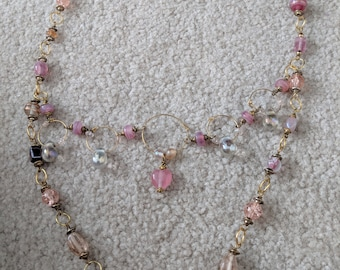 Pink beaded gold necklace