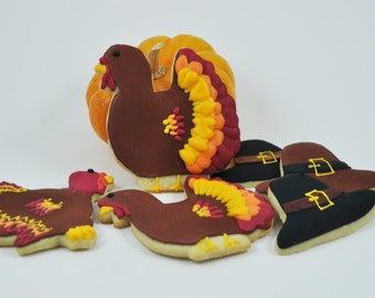 Pilgrim Hat and Turkey Set -  Thanksgiving Cookies - Fall Cookies - Decorated Iced Sugar Cookies -  gift - thanksgiving dinner party