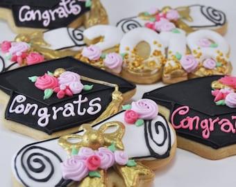 2018 Graduation Sugar Cookies - congrats Grad - cute - flowers  -graduation party favors - graduation cookies - diploma - congrats grad