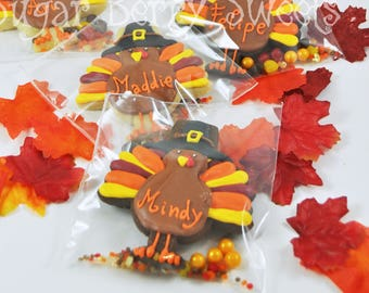 Personalized Thanksgiving Turkeys - Gobble 'til you Wobble sugar cookies  - Thanksgiving dinner party favor - edible placecards cookies