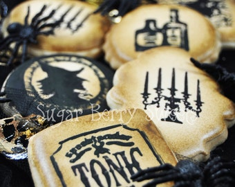 Vintage Gothic Retro Halloween decorated sugar cookies - pumpkin spice flavor  - perfect Halloween party favor - poison - scary - potions