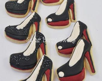 Christian Louboutin - Designer Shoes Stiletto Sugar Cookies - 1 Dozen - sweet - cute - fashion - fashionista party favor for shoe lovers